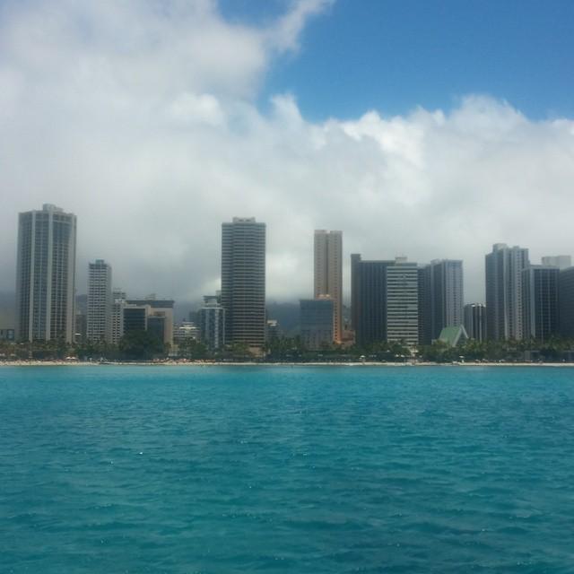 De hotelflats van Waikiki.