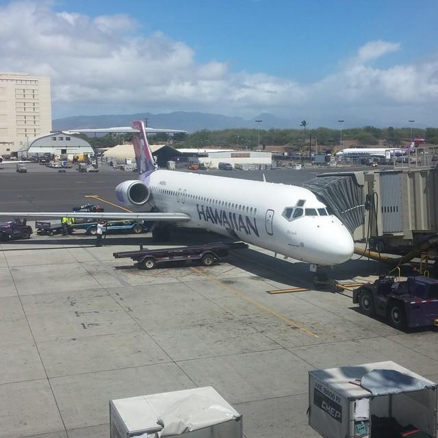 Het vliegtuig waarin we net gevlogen hebben.