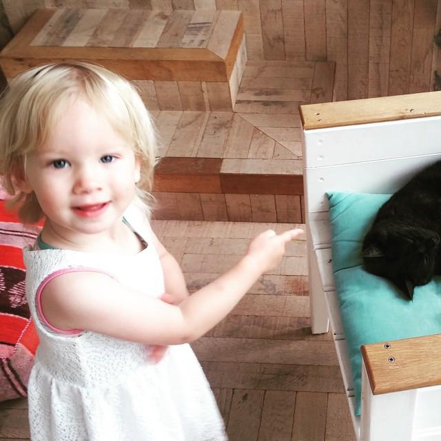 Terwijl wij het hout uitzoeken gaan de meisjes op onderzoek uit in het huis. Nova heeft de luie poes gevonden