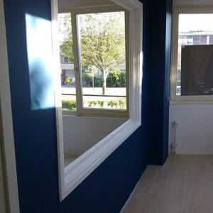 En de blauwe muur in onze toekomstige slaapkamer