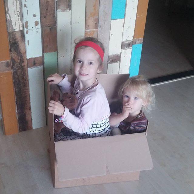 De meisjes in een zelfgemaakte raceauto