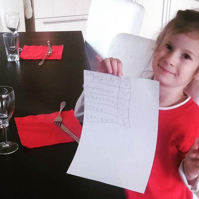 Weer thuis spelen Lyse en ik restaurantje. Lyse maakt eerst een checklist met wat we allemaal nodig hebben.