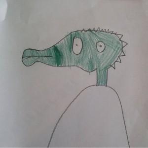 Ik weet niet wat het is met deze tekening, maar ik vind de krokodil zo'n geweldige gezichtsuitdrukking hebben.