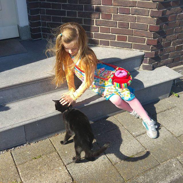Toen was deze kat nog lief, een paar minuten later krabde hij Lyses hand open...