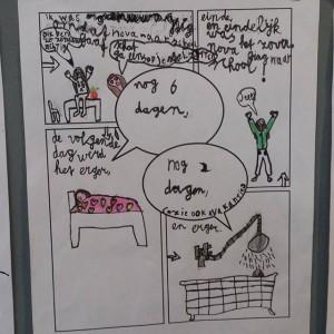 Lyse kan toch zo leuk tekenen! Op school hing dit leuke stripverhaal over hoe spannend ze het vindt dat Nova ook naar school gaat. Helemaal met het goede beddengoed, en haar panda-trui.
