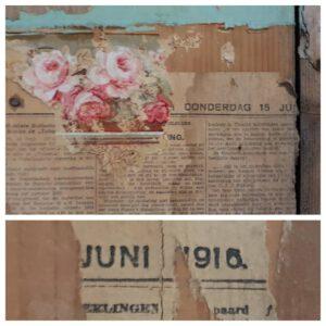 Donderdag 15 juni 1916. Een krant van 104 jaar oud gevonden tijdens de verbouwing! Kek behangetje ook.